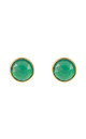 Medium Circle Stud Gold Green Onyx by Latelita