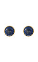 Medium Circle Stud Gold Lapis Lazuli by Latelita