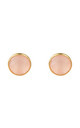 Medium Circle Stud Gold Rose Quartz by Latelita