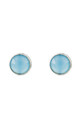 Medium Circle Stud Silver Blue Chalcedony by Latelita