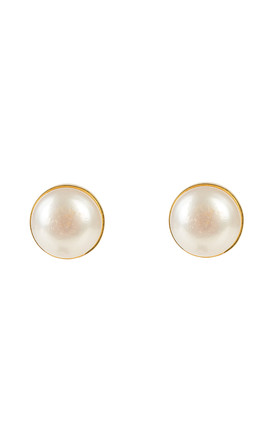 Medium Circle Stud Gold Pearl by Latelita London