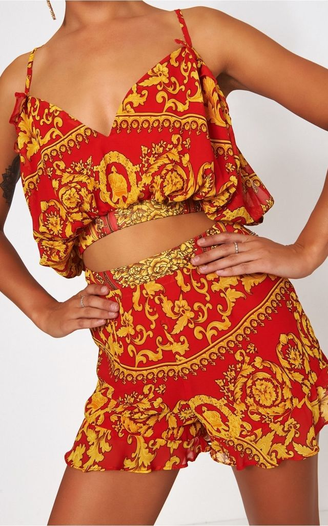 Firenza Red & Gold Baroque Print Co-ord by The Fashion Bible