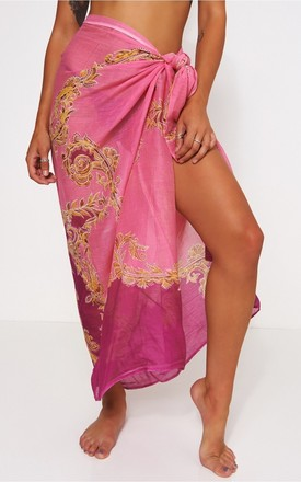 Baroque Print Pink & Gold Scarf by The Fashion Bible