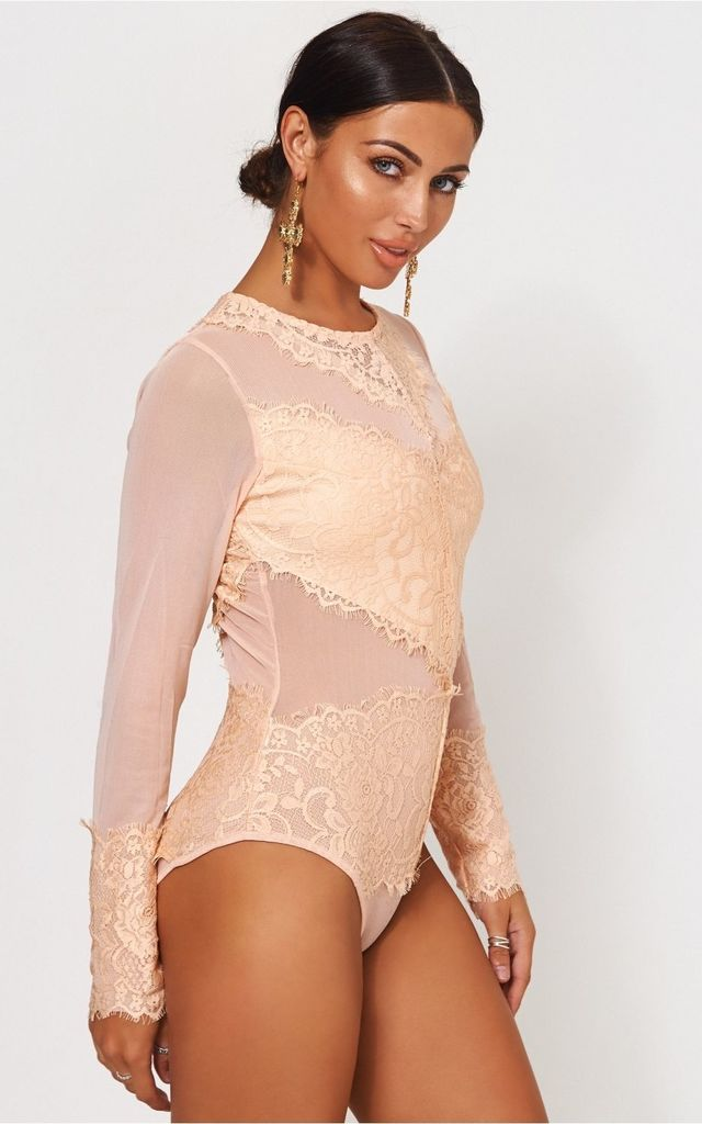 Amalfi Peach Lace Bodysuit by The Fashion Bible