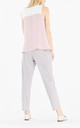 Two Tone Flared V-Neck Top in Pink and White by Paisie