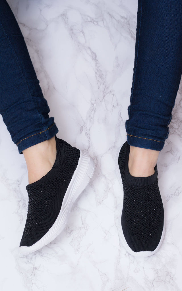 PERF Sporty Sparkly Wedge Sole Knit Sock Trainers - Black Knit by SpyLoveBuy