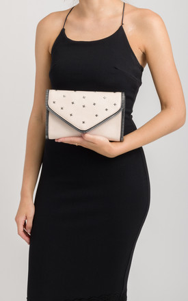 Hattie Beige Studded Clutch Bag by KoKo Couture