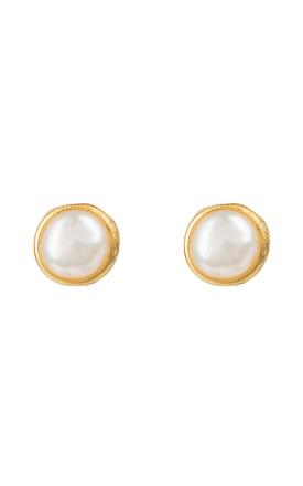 Petite Stud Earring Gold White Pearl by Latelita Product photo
