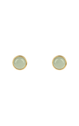 Petite Stud Gold Aqua Chalcedony by Latelita Product photo