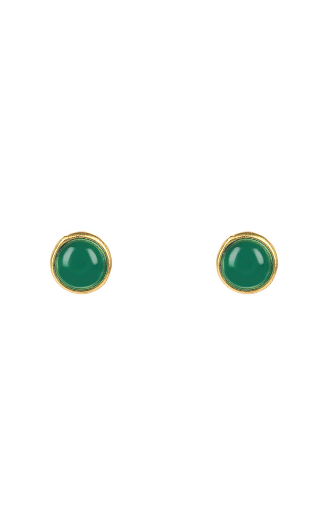 Petite Gold Earring Studs with Green Onyx by Latelita London
