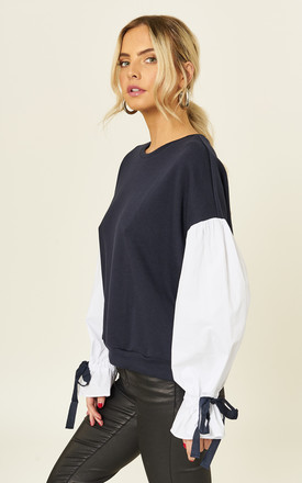 Mon Cherie Navy Shirt Sleeve Sweater by B. W. G.