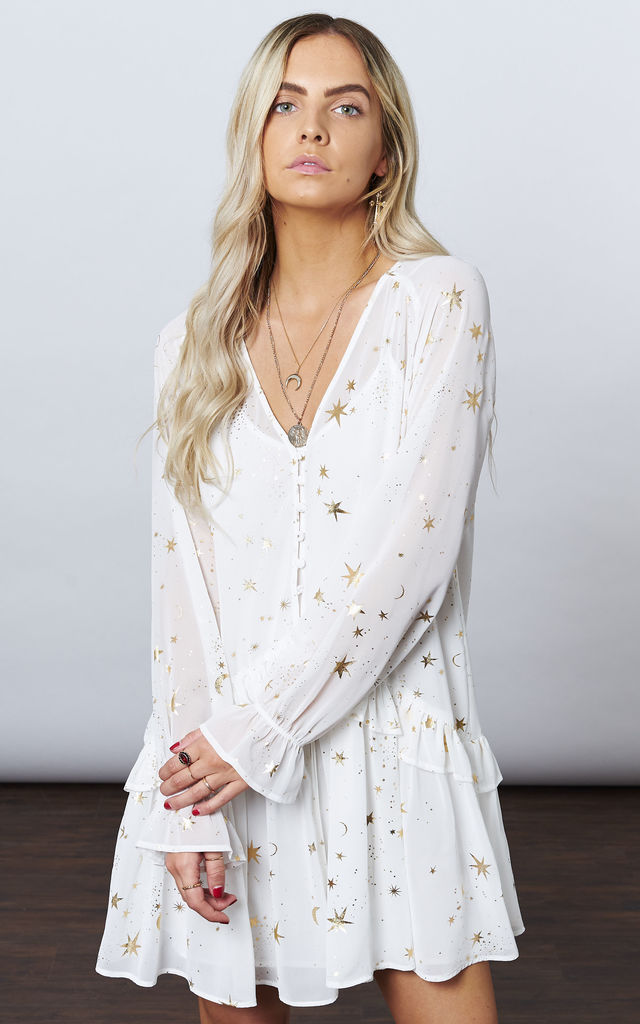 WHITE WITH GOLD STAR & MOON FLOWY MINI by If By Sea
