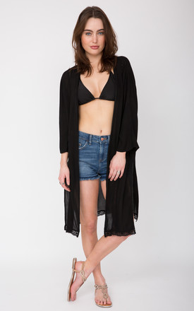 Summer Kaftan Kimono Coverup Black Lace Trim by likemary