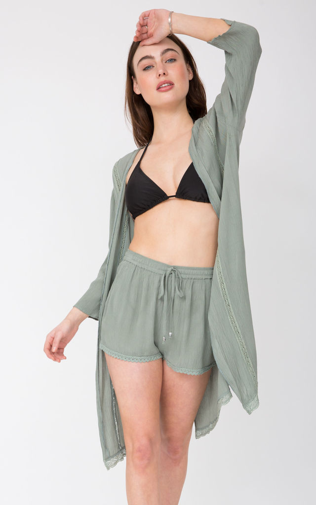 Summer Kaftan Kimono Coverup Pistacchio Green Lace Trim by likemary