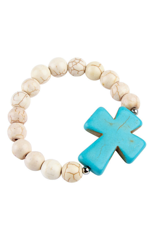 White Turquoise Chunky Bead Bracelet by Helix and Felix