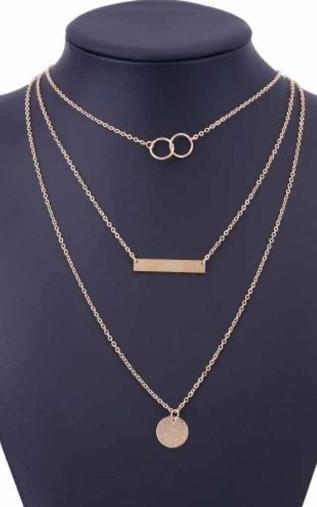 Layered Gold Bar & Circle Necklace by HAUS OF DECK