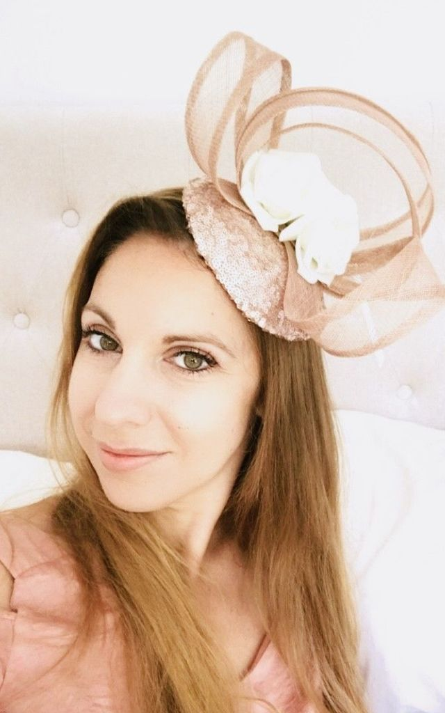 Nude Rose Gold Sequin Pillbox Hat with Ivory Roses by TwisT Fashion