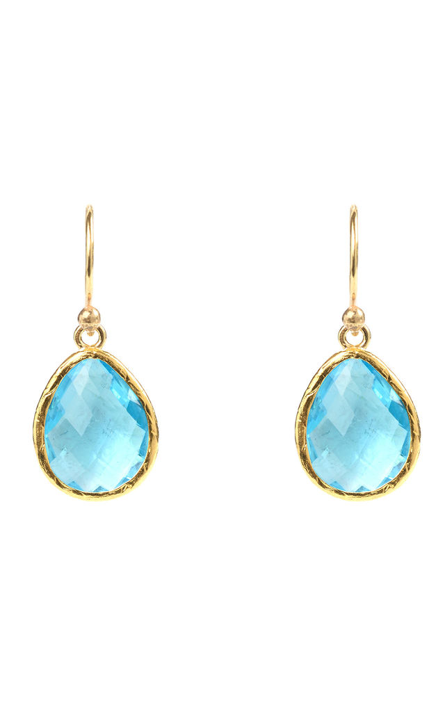 Gold Petite Drop Earring Blue Topaz Hydro by Latelita