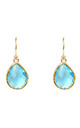 Gold Petite Drop Earring Blue Topaz Hydro by Latelita London