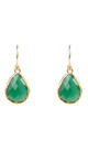 Gold Petite Drop Earring Green Onyx by Latelita