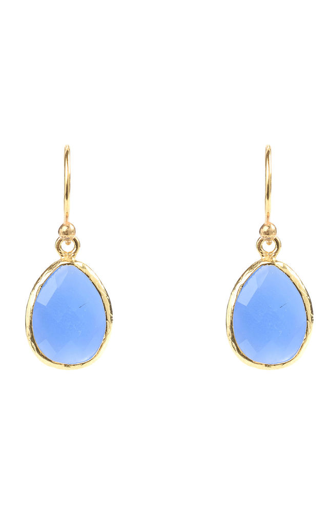 Gold Petite Drop Earring Dark Blue Chalcedony by Latelita London