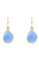 Gold Petite Drop Earring Dark Blue Chalcedony by Latelita
