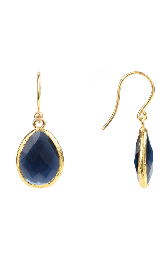 Gold Petite Drop Earring Sapphire Hydro by Latelita