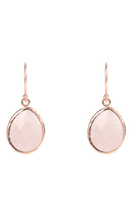 Rose gold Petite Drop Earring Rose Quartz by Latelita London