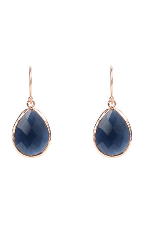 Rose Gold Petite Drop Earring Sapphire Hydro by Latelita Product photo