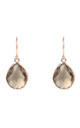 Petite Drop Rose gold Earrings with Smokey Quartz by Latelita London