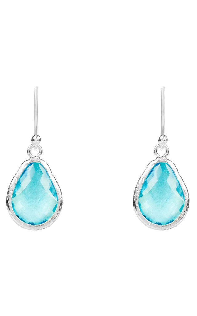 Silver Petite Drop Earring Blue Topaz Hydro by Latelita
