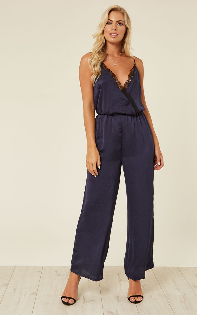 Navy Lace V Neck Jumpsuit by Another Look
