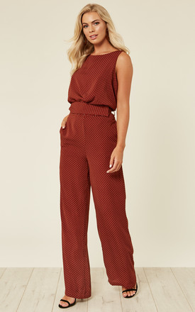 Burnt Orange Polkadot Jumpsuit by Another Look