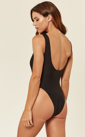 Feminist High Leg Swimsuit in Black by Pool Party