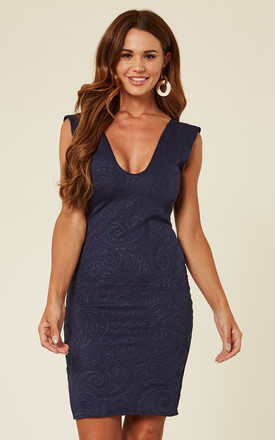 Navy Blue Fitted Dress With A V Neckline And Knee Length Detailing by Prodigal Fox