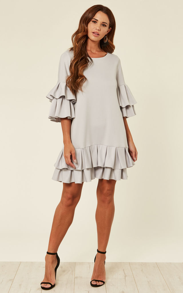 Short Light Grey Dress With Pleated Detailing And 3/4 Length Sleeves by Prodigal Fox