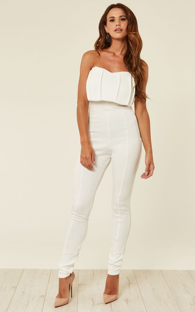 35274cbb2d8 White Pleated Bandeau Jumpsuit by Prodigal Fox