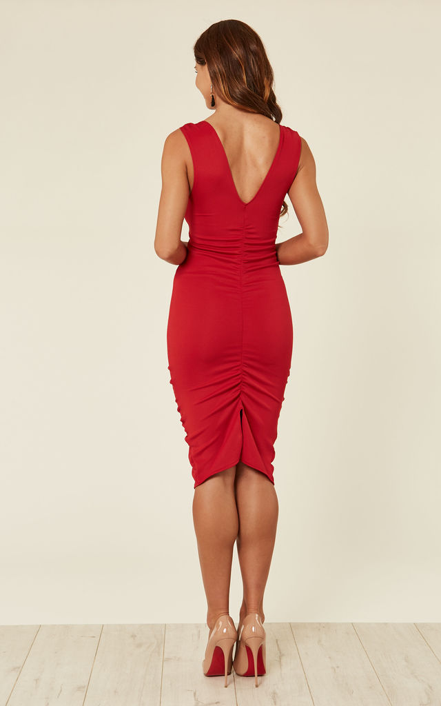 Fitted Red Dress With V Neckline Splits And Gathered Detailing by Prodigal Fox