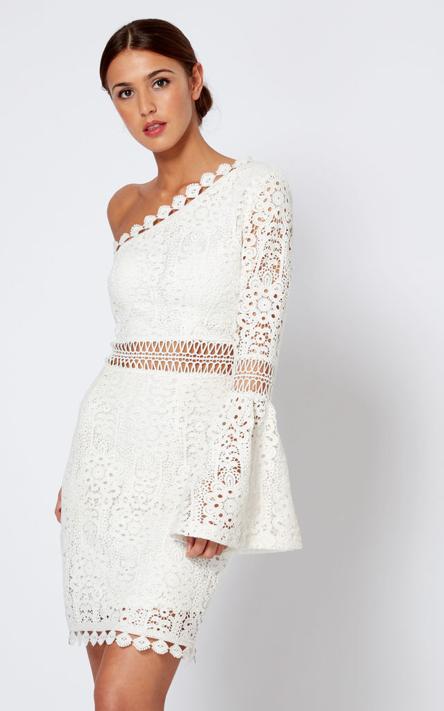 White Crochet One Shoulder Bell Sleeve Mini Dress Club L London