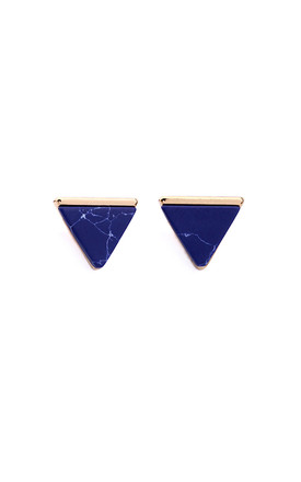 Blue Marble Effect Pyramid Earrings by LAST TRUE ANGEL Product photo