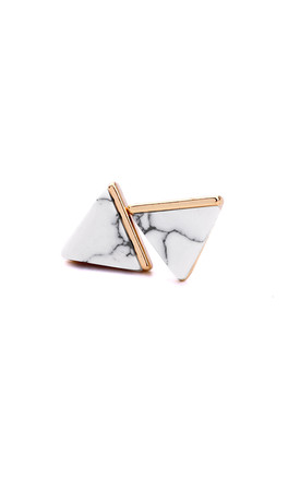 White Marble Effect Pyramid Earring by LAST TRUE ANGEL
