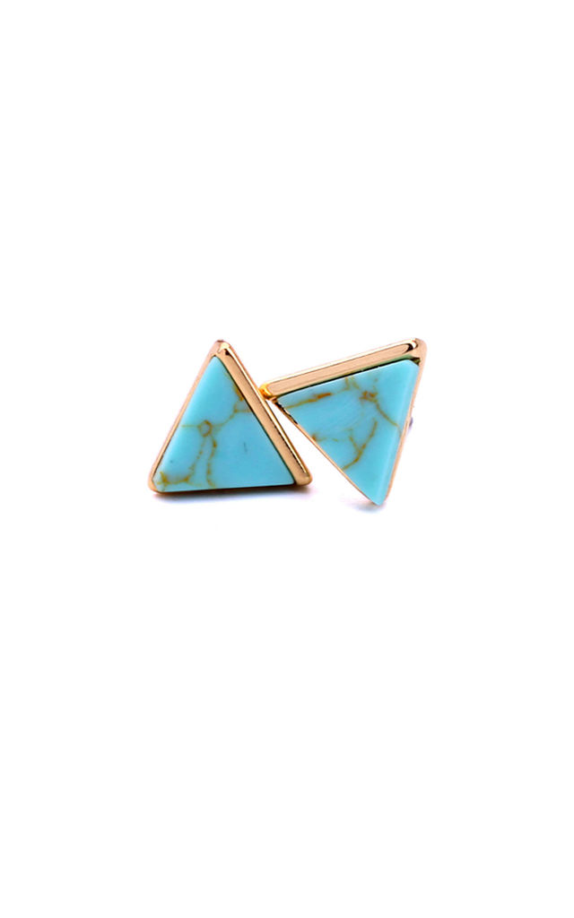 Turquoise Marble Effect Pyramid Earrings by LAST TRUE ANGEL
