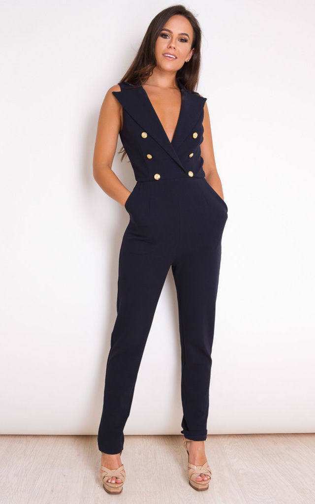Lydia Tailored Sleeveless Jumpsuit Navy by Girl In Mind