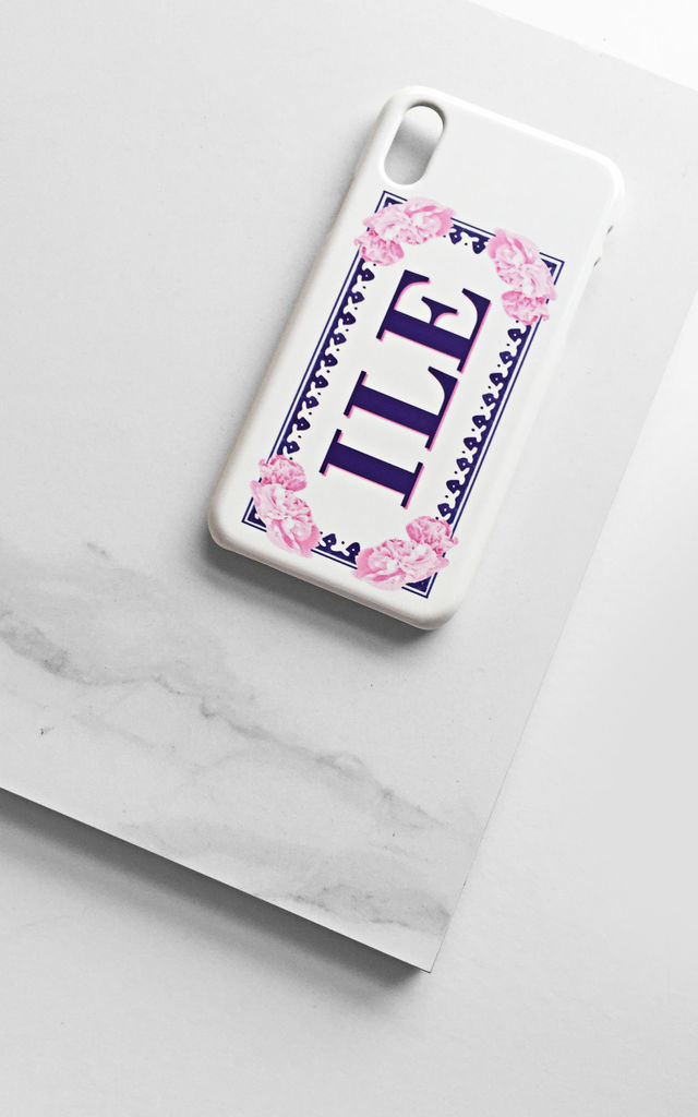Floral framed monogram phone case by Rianna Phillips