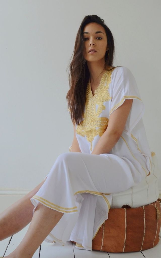 White Gold Marrakech Kaftan by Maison De Marrakech