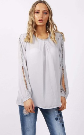 Pale Grey Lace Trim Split Arm Detail Floaty Blouse Top by Urban Mist