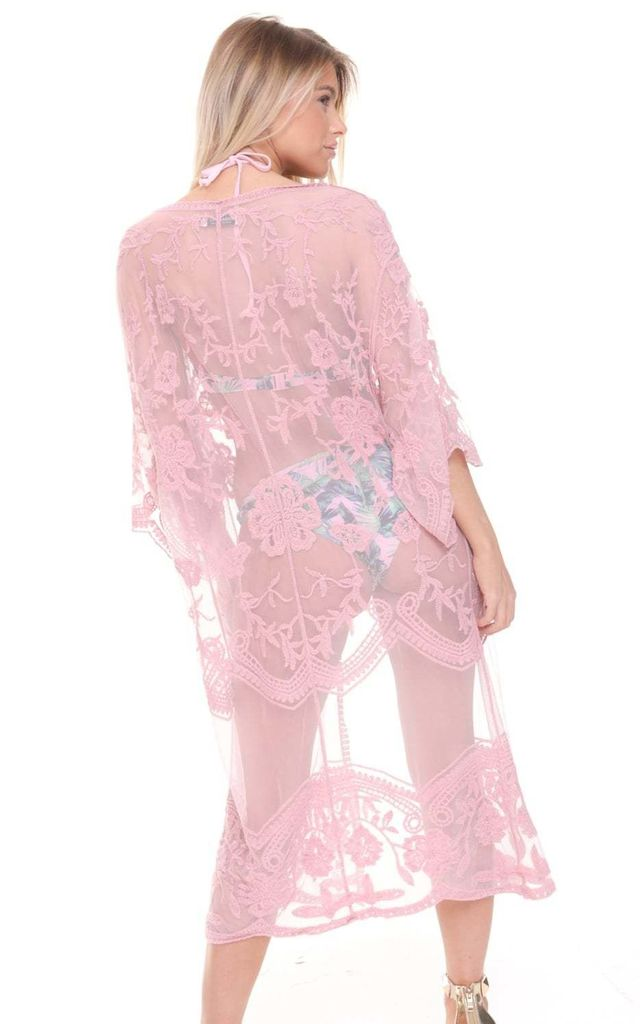 Nude Pink Boho Festival Holiday Lace Long Sleeve Maxi Kimono Jacket by Urban Mist
