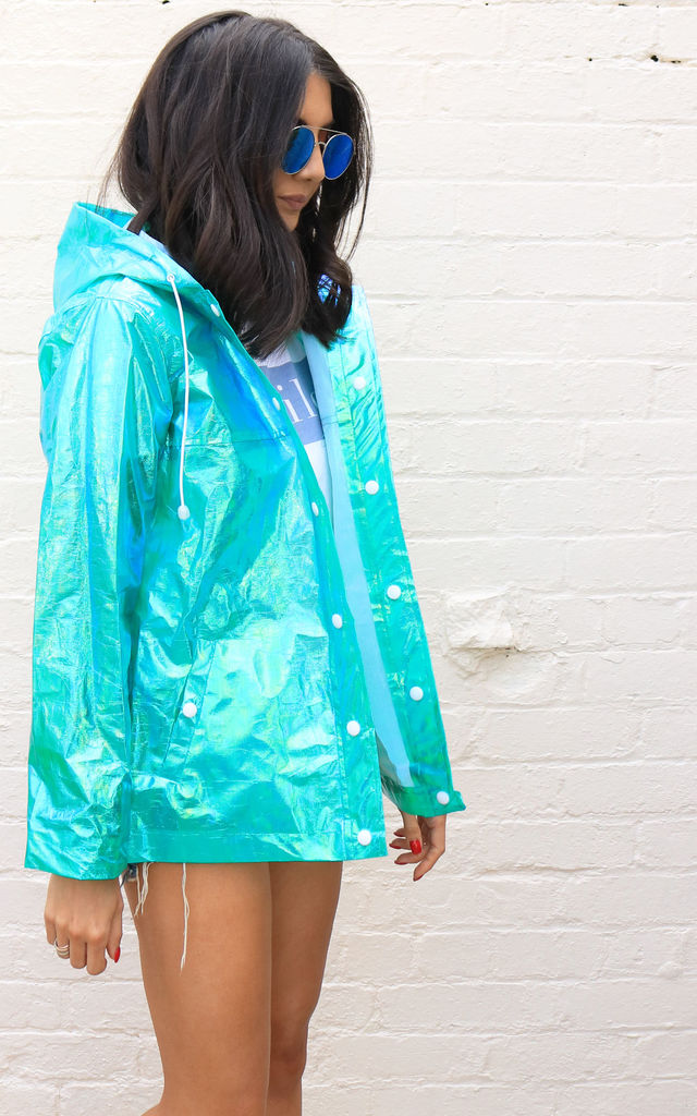 Iridescent Lightweight Sheer Hooded Raincoat Mac in Mermaid Green by One Nation Clothing