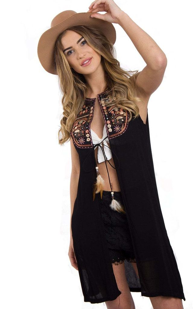 Black Sleeveless Embroidered Mirror Detail Waistcoat Jacket by Urban Mist
