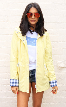 Kimmy Matte Rubberised Hooded Raincoat Mac in Lemon Yellow by One Nation Clothing